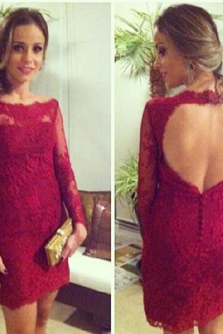 Sexy Short Burgundy Lace Prom Dresses Long Sleeve Backless Formal Evening Gowns