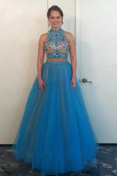 Sexy Long Two Piece Prom Dresses Showcases Beaded Bodice And Halter Neckline Floor Length Tulle Backless Formal Dresses