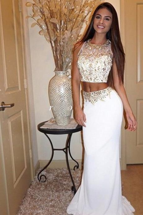 Pretty Chiffon Red Sparkle Beaded Prom Gowns, Two Piece Prom Dresses,Mermaid Prom Dresses 2016