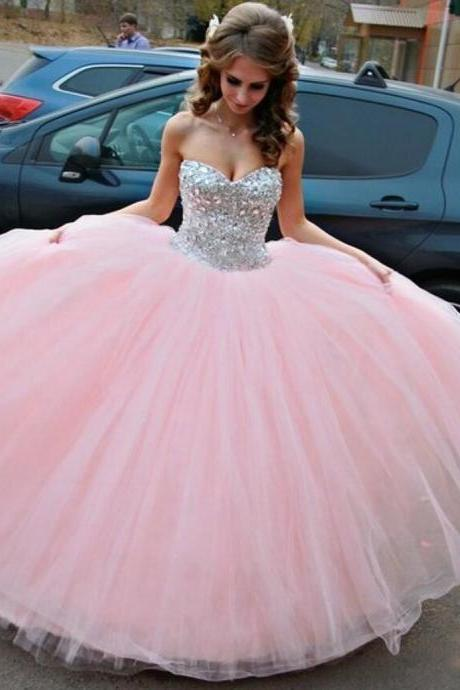 Sparkly Tulle Pink Sparkle Ball Gown Prom Gowns, Pink Prom Dresses,Ball Gown Prom Dresses 2016