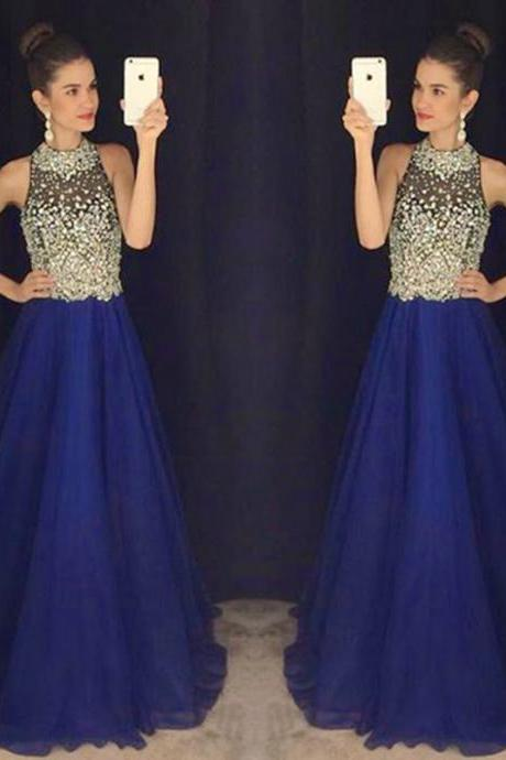 Sparkly Chiffon Royal Blue A Line Prom Gowns, Blue Prom Dresses,A Line Prom Dresses 2016