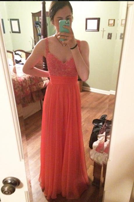 Charming Chiffon Coral A Line Prom Gowns, Coral Spaghetti Straps Prom Dresses,A Line Prom Dress 2016