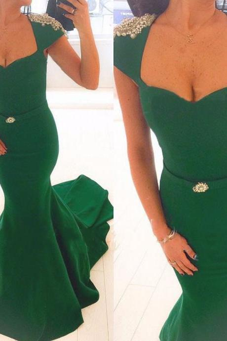 Charming Satin Green Mermaid Prom Gowns, Green Cap Sleeve Prom Dresses,Mermaid Prom Dress 2016
