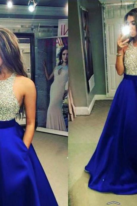 Sexy Satin Royal Blue Evening Dresses With Crystal Beads Long Elegant Prom Dress Robe De Soiree Formal Gowns