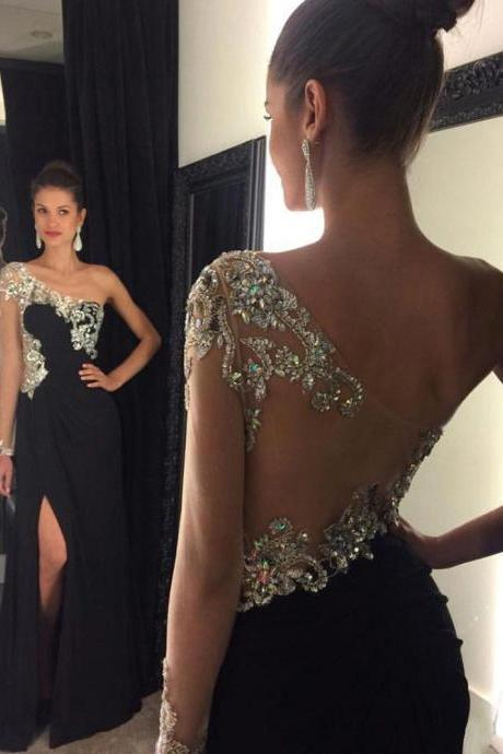 Sexy Chiffon Black Evening Dresses With Illusion Back Long Elegant Rhinestone Beaded Prom Dress Formal Gowns