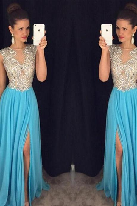 Sexy Chiffon Sky Blue Evening Dresses With Side Split Long Elegant Rhinestone Beaded Prom Dress Formal Gowns