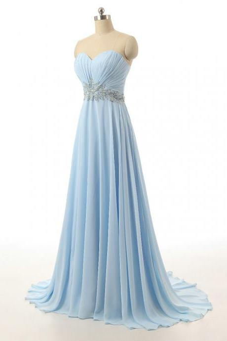 Charming Sweetheart Light Blue Bridesmaid Dresses, Beautiful Floor Length Chiffon Bridesmaid Dresses, Wedding Party dresses,Formal Gowns,Prom Dresses,Evening Gowns