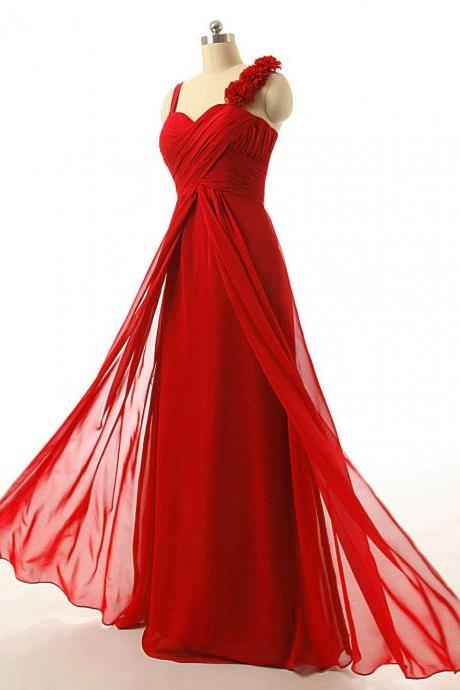 Red Spaghetti Strap Ruched Chiffon A-line Floor-Length Prom Dress, Evening Dress, Bridesmaid Dress
