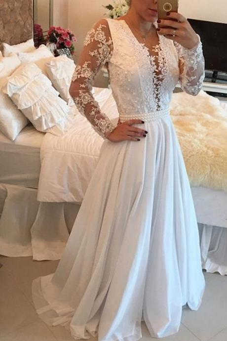 Sexy Women Long Sleeve Beaded Formal Dresses White Chiffon Evening Party Gonws With Plunge V Neckline