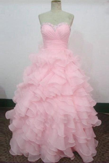 Sexy Women Sweetheart Formal Dresses Pink Organza Evening Party Ball Gonws With Ruffle