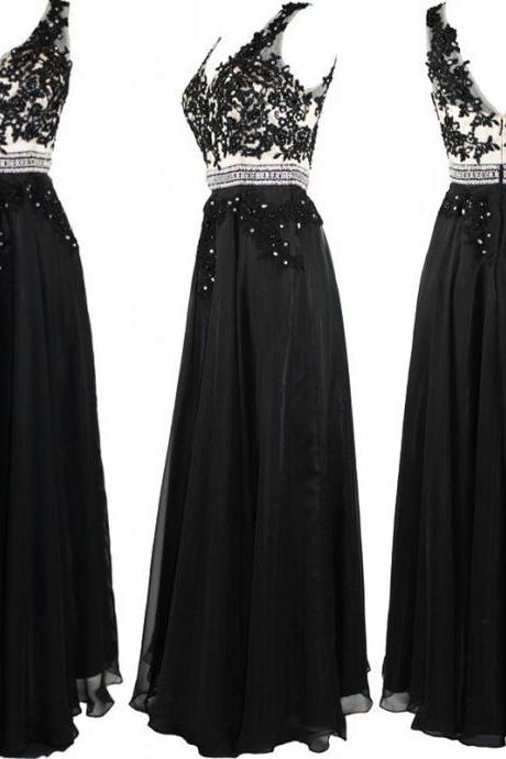 Black Long Chiffon A-Line Prom Gown Featuring Lace Appliqués and Beaded Embellished Plunge V Bodice