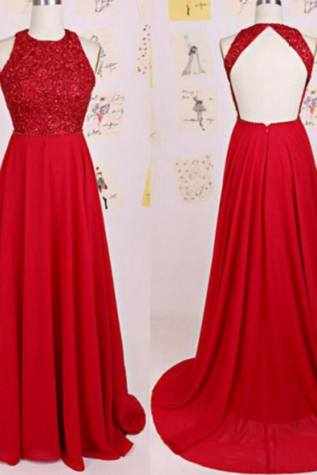 Sexy Red Chiffon Backless Bridesmaid Dresses, Elegant Long Open Back Court Train Formal Dresses, Wedding Party dresses,2017 Evening Gowns