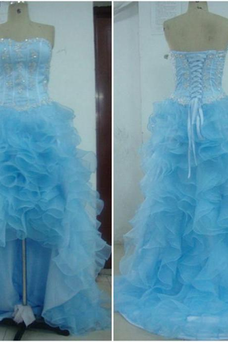 2017 Sweetheart High Low Organza Dress in Light Blue - Prom Dress, Bridesmaid Dress, Formal Dress