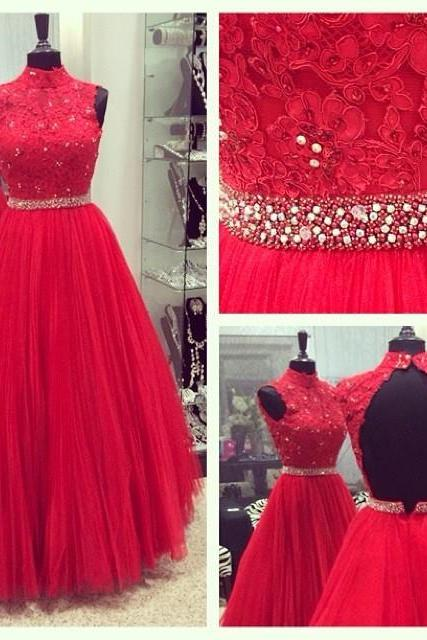 Red Halter Floor-length Tulle Backless Dress - Prom Dress, Bridesmaid Dress, Formal Dress