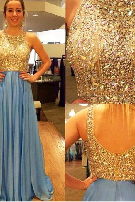 Vintage Chiffon V Neck Light Blue Prom Dresses With Gold Bodice Court Train Strapless Formal Gonws