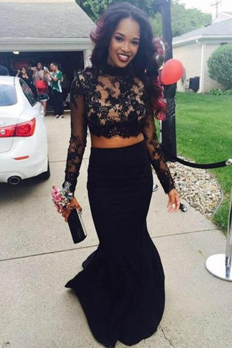 Sexy Satin High Neck Black Mermaid Prom Dresses Long Sleeve Court Train Two Piece Formal Gonws