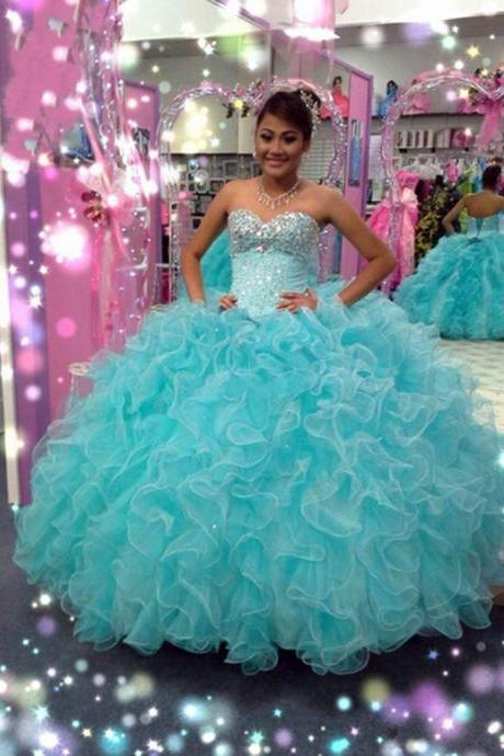 Blue Rhinestone Long Ruffle Organza Quinceanera Gown Featuring Sweetheart Beaded Bodice