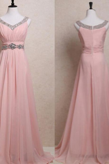 Sexy V Neck Beaded Chiffon Formal Dresses,Long Elegant Pink A Line Prom Dresses,