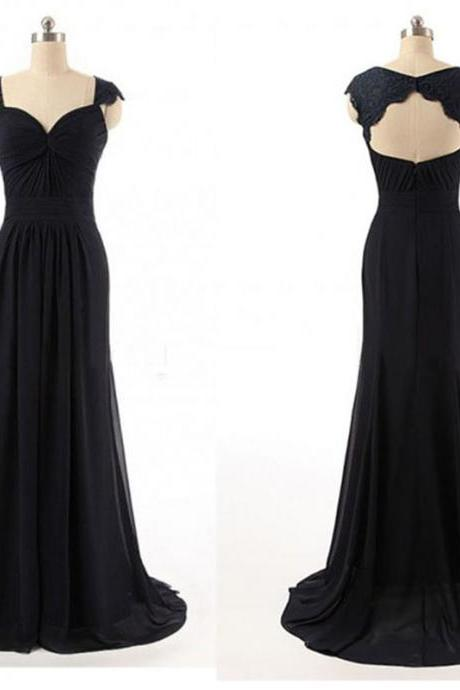 Black Cap-sleeved Chiffon Floor-length Dress with Ruched Sweetheart Bodice and Lace Appliqués