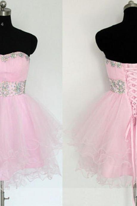 Sparkly Pink Homecoming Dresses,Short Prom Dresses,Sweetheart Neckline Backless Organza Crystal Mini Dresses