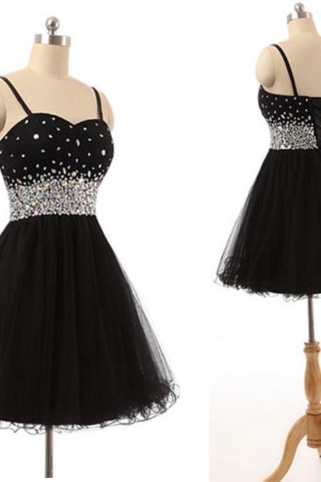 Sparkly Black Homecoming Dresses,Short Prom Dresses,Spaghetti Straps Tulle Crystal Mini Dresses