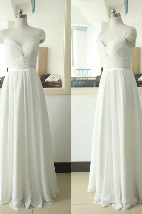 White Floor Length Chiffon Prom Dresses Featuring Beaded Cap Sleeve And Zipper Back Long Elegant Evening Formal Gowns