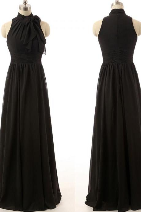 Black Floor Length Chiffon Prom Dresses Featuring High Neck Long Elegant Evening Formal Gowns