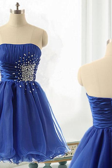 Royal Blue Short A-Line Evening Dress Featuring Beaded Strapless Bodice And Zipper Back