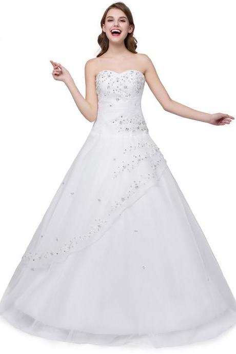 Vintage White Sweetheart Beaded Prom Dresses Long Organza Strapless Formal Gowns