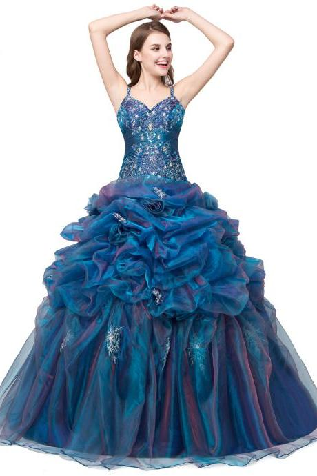 Rhinestone Organza Blue Quinceanera Dresses Debutante Prom Gowns Sweet 16 Dresses Cheap Quinceanera Ball Gowns Prom Dresses