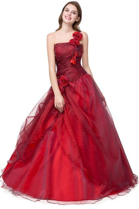 Elegant Long Red Prom Dresses Featuring Floral One Shoulder And Ruched Bodice,Red Quinceanera Dresses, Debutante Prom Gowns, Sweet 16 Dresses,Cheap Quinceanera Ball Gowns,Blue Prom Dresses