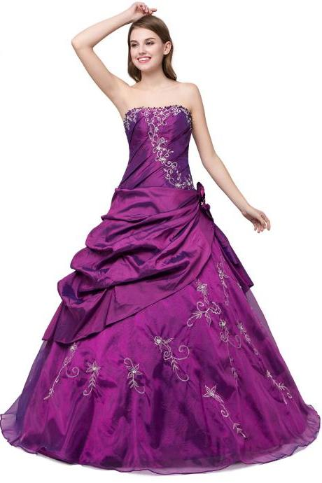 Elegant Long Purple Organza Prom Gown Featuring Embroidered and Beaded Embellished Sweetheart Bodice, Ball Gown, Formal Dresses