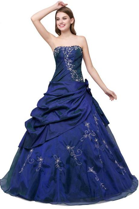 Charming Floor Length Navy Blue Taffeta Prom Gown Featuring Embroidered and Beaded Embellished Sweetheart Bodice, Ball Gown, Formal Dresses