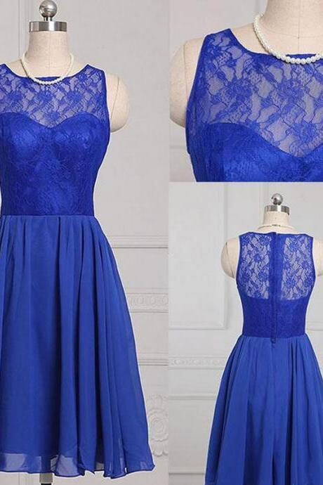 Royal Blue Short A-Line Evening Dress Featuring Lace Strapless Bodice And Zipper Back