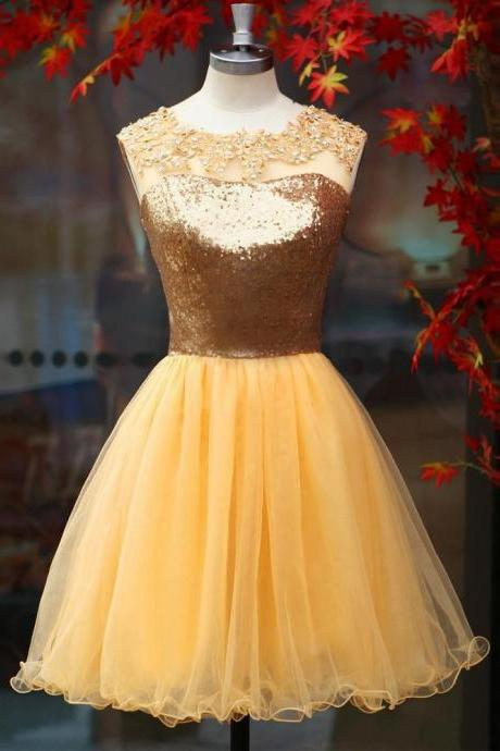 Sparkly Gold Homecoming Dresses,Short Prom Dresses,Sheer Neck Backless Organza Sequined Mini Dresses