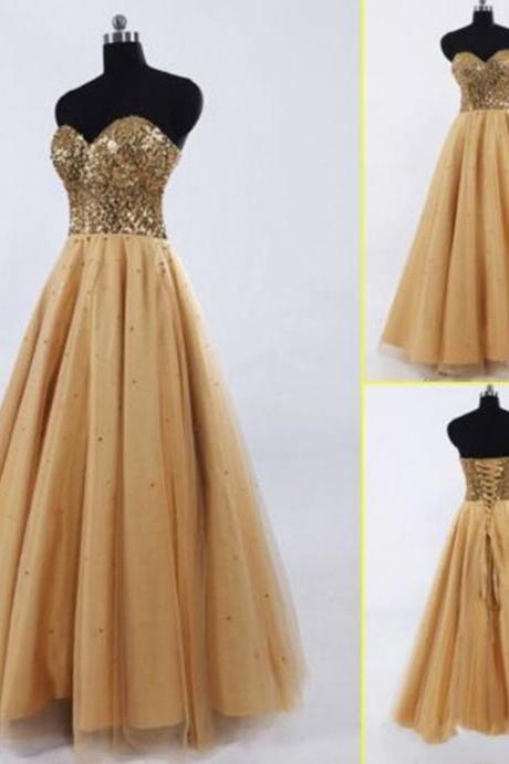 Sexy Women Strapless Sequined Bodice Formal Dresses Gold Tulle Evening Party Gonws With Zipper Back