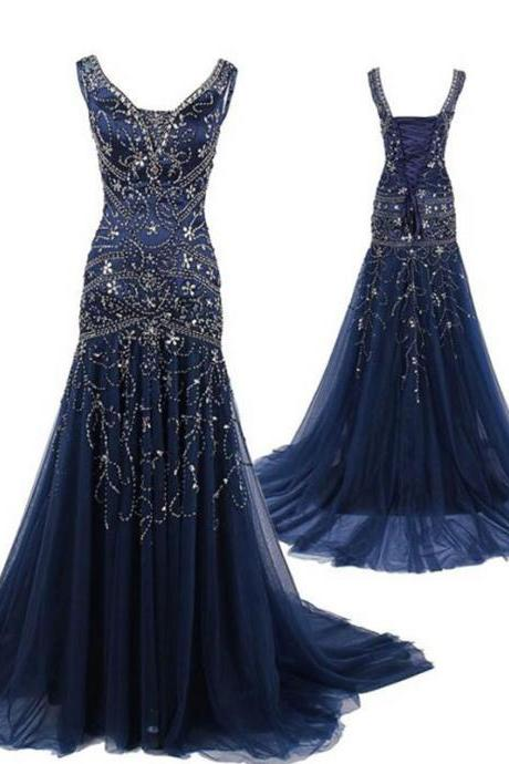 Sexy Navy Blue Tulle Sheath Prom Dresses Featuring Beaded Bodice With V Neck Long Elegant Party Formal Gowns
