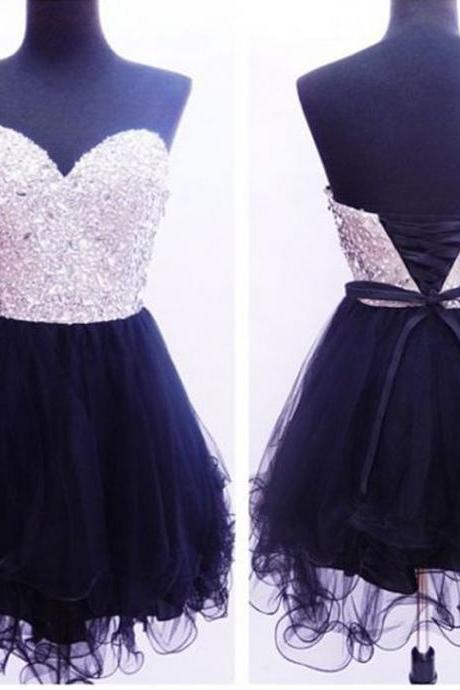 Little Black Dresses,Black Short Prom Dress,Short Sexy Bridesmaid Dresses, Sexy Rhinestone Evening Dresses ,Short Elegant Prom Dresses Party Evening Gown