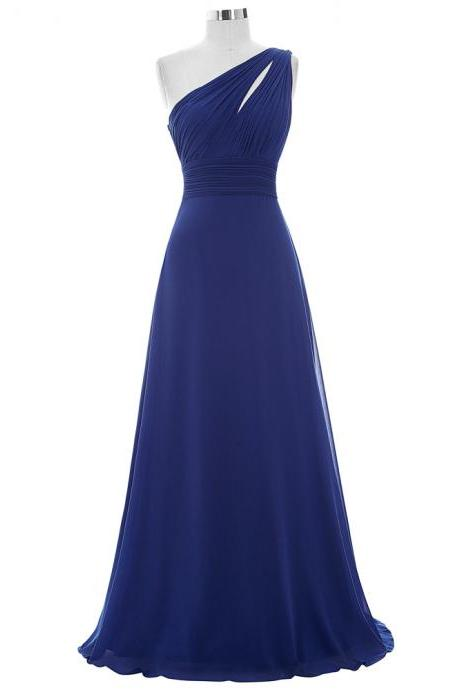 Marvelous Royal Blue Evening Dresses With One Shoulder Long Elegant Prom Party Dress Formal Gowns