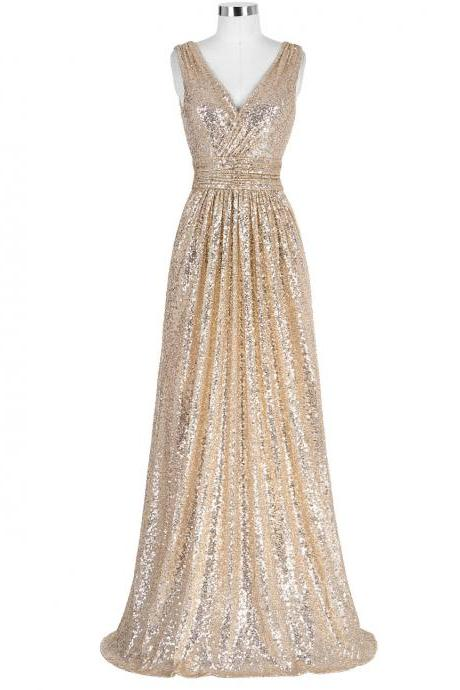 Stunning V Neck Gold Sequined Bridesmaid Dresses,Elegant Long Formal Dresses, Wedding Party dresses, New Arrival Evening Gowns