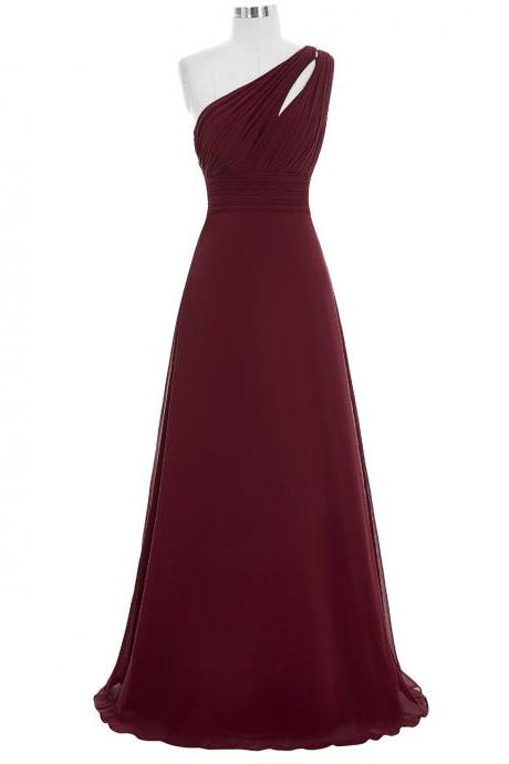 Amazing One Shoulder Dark Burgundy Bridesmaid Dresses,Elegant Long Formal Dresses, Wedding Party dresses, New Arrival Evening Gowns