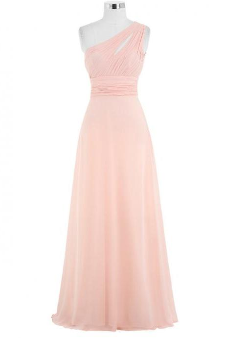 One Shoulder Pink Bridesmaid Dresses,Elegant Long Prom Dresses, Wedding Party dresses, New Arrival Evening Gowns