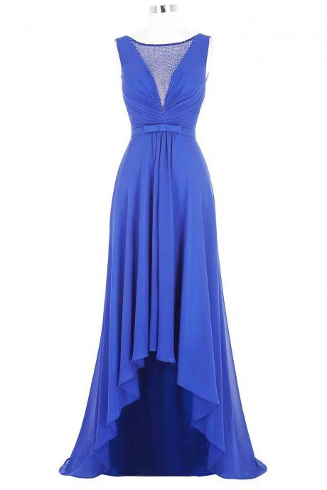Sheer Neck Blue Bridesmaid Dresses,Sexy High Low Beaded Prom Dresses, Wedding Party dresses, New Arrival Evening Gowns