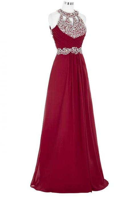 Marvelous Burgundy Bridesmaid Dresses,Elegant Long Beaded Prom Dresses, Floor Length Chiffon Wedding Party dresses, New Arrival Evening Gowns