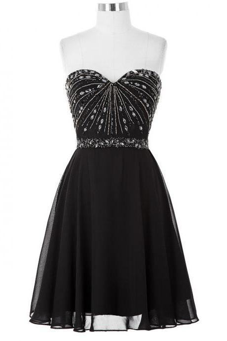Black Beaded Embellished Sweetheart Short Chiffon Bridesmaid Dress