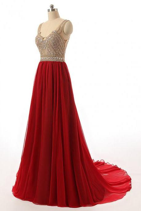 Burgundy Beaded Chiffon Mermaid Prom Dresses Featuring V Neck Neckline and Illusion Back- Long Elegant Evening Formal Gowns