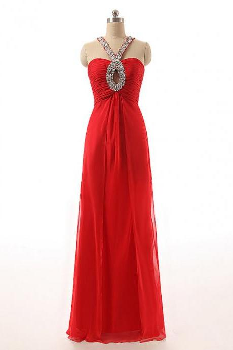 Red Long Keyhole Beaded Prom Dresses Featuring Cross Back And Zipper Back - Floor Length Elegant Evening Formal Gowns