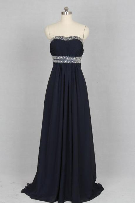 Navy Blue Chiffon Prom Dresses Featuring With Sweetheart Necklne And Beaded Waist - Long Elegant Evening Formal Gowns