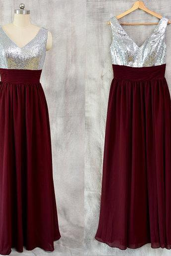 Sexy Burgundy Bridesmaid Dresses Featuring Sequined Bodice With V Neck Long Strapless Chiffon Evening Gowns