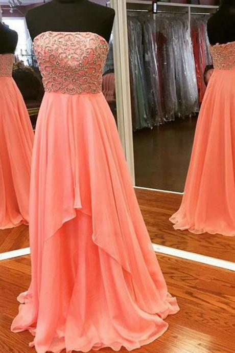 Long Beaded Coral Prom Dresses Featuring Sweetheart Neckline Long Chiffon Evening Gowns